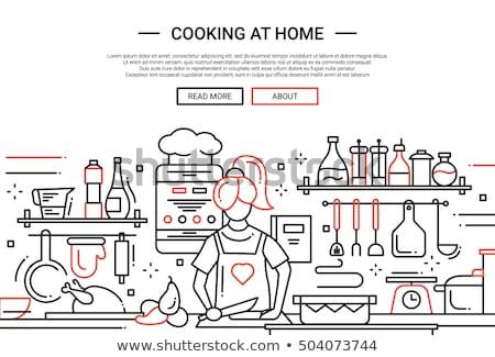 Домашняя кухня баннер крошечный люди семьи Сток-фото © RAStudio
