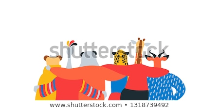 Wild animal friend hug together on isolated banner Stock photo © cienpies