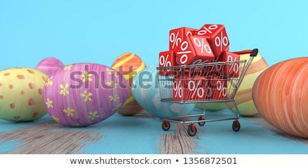 bevásárlókocsi · vásár · kockák · piros · százalék · fehér - stock fotó © limbi007
