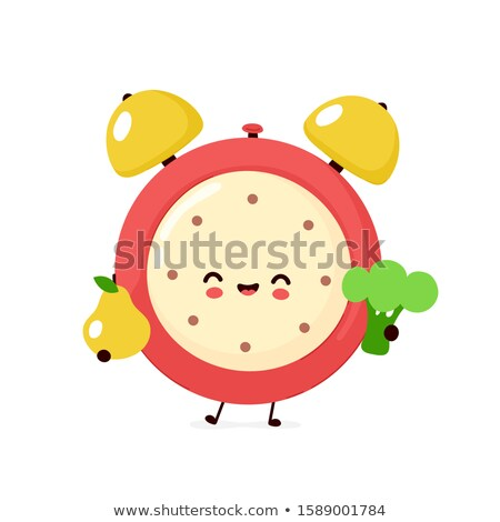 Stock photo: Time Timer and Broccoli Set Vector Illustration