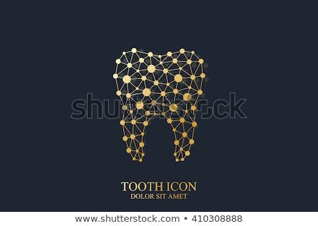золото точка линия рисунок зубов иллюстрация Сток-фото © Blue_daemon