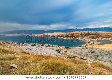 scenic view over village on pag island in the evening stock photo © rafalstachura