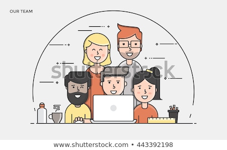 Vector meet our team concept creative business illustration with working people.  foto stock © Giraffarte