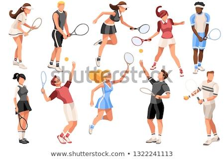 Szett teniszező karakter illusztráció férfi sport Stock fotó © bluering