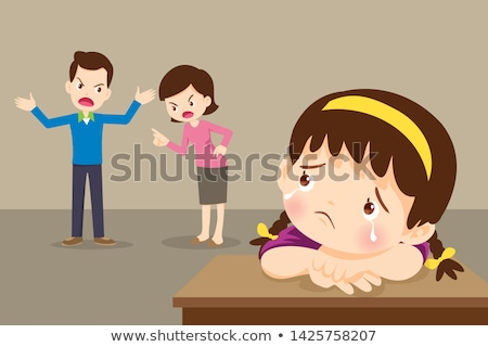 Stock photo: Kids Crying Because Parents Are Divorcing Vector