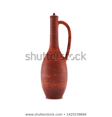 Clay jug for wine with a handle and cup, 3D illustration. Stock photo © kup1984