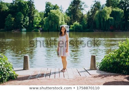 woman tourist on background of colorful fountain on the lake at stock photo © galitskaya