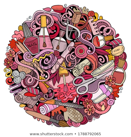 Nail Salon hand drawn vector doodles round illustration. Manicure poster design. Stock photo © balabolka
