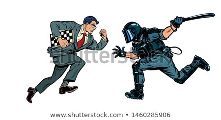 intelligence versus strength. chess player and riot police with a baton Stock photo © studiostoks