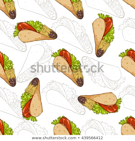 Seamless pattern taco scetch and color Stock photo © netkov1