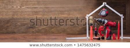 ストックフォト: 作業 · ツール · 家 · 白 · 巻き尺
