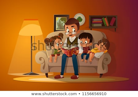 boy sitting on armchair and reading book vector stock photo © robuart