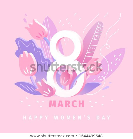 Foto stock: Womens International Day Lilac And 8 March Vector