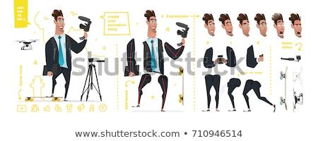 Fiatal hipszter férfi kamera rajzfilmfigura generátor Stock fotó © robuart