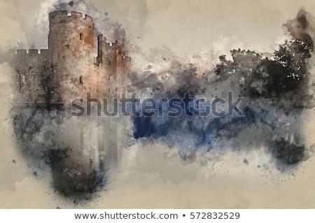 Acuarela castillo ruina ilustración verde colina Foto stock © unkreatives
