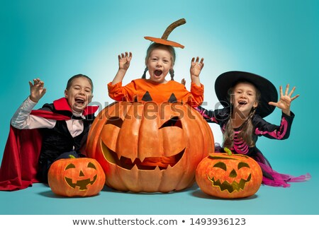 witch, Dracula and pumpkin on turquoise background. Stock photo © choreograph