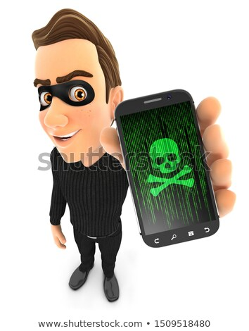 3d thief holding hacked smartphone stock photo © 3dmask