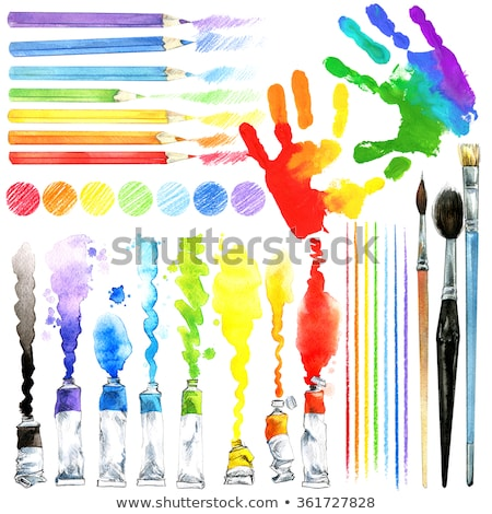 basic colors coloring book with artist painter Stock photo © izakowski