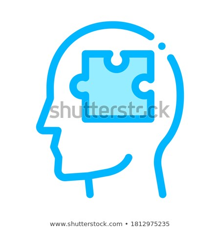 puzzle detail in man silhouette mind vector icon stock photo © pikepicture