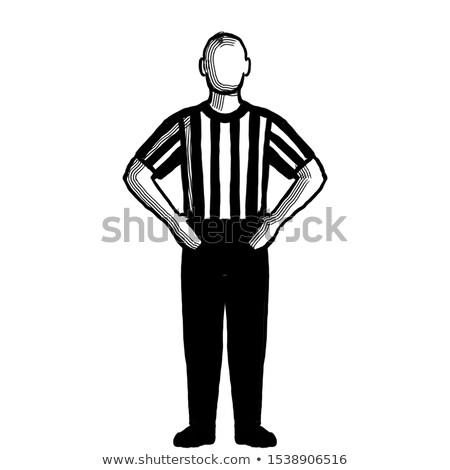 Photo stock: Basket · arbitre · main · signal · rétro · blanc · noir