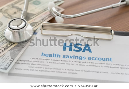Zdrowia oszczędności konto formularza okulary pióro Zdjęcia stock © AndreyPopov
