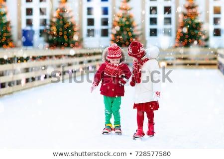 Karácsony ünnepek gyerek korcsolyázás pálya vektor Stock fotó © robuart