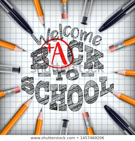 Back to school design with colorful pencil and ltypography letter on square grid booklet background. Stock photo © articular