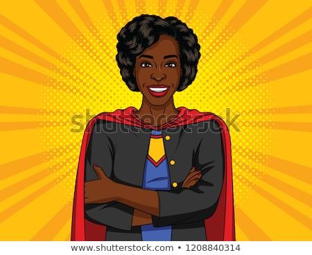 happy african american woman in superhero red cape Stock photo © dolgachov