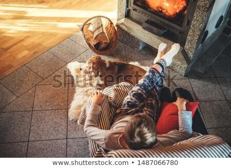 Friends sitting by fireplace Stock photo © jossdiim