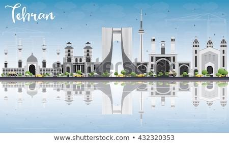 Teherán sziluett szürke kék ég tükröződések üzleti út Stock fotó © ShustrikS