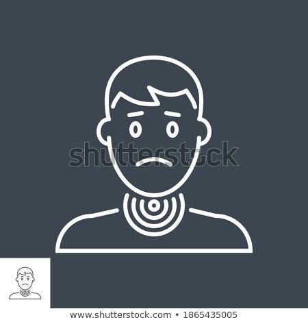Keelpijn vector dun lijn icon hoofd Stockfoto © smoki
