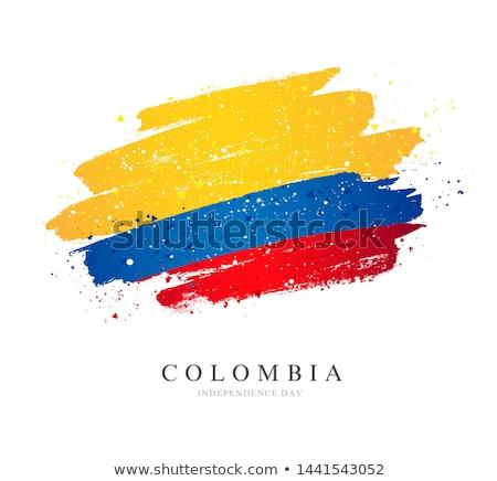Colombia zászló kéz fehér háttér szabadság Stock fotó © butenkow