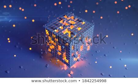 Blauw · 3D · futuristische · kubus · abstractie · plaat - stockfoto © FransysMaslo