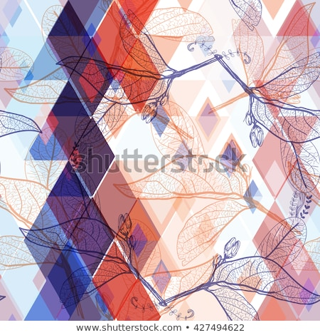 Seamless pattern with red contour shapes Stock photo © nurrka