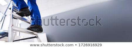 водопроводчика · трубы · изображение · молодые · улыбка · синий - Сток-фото © photography33