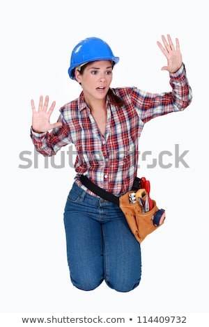 Tradeswoman stuck behind an invisible wall Stock photo © photography33