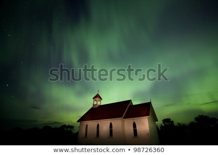 Northern Lights Canada Church country religion Stock photo © pictureguy