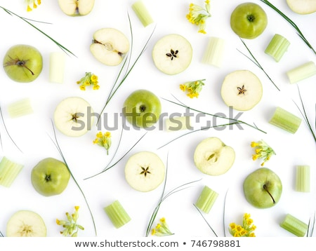 Red apples with green leaf and flowers Stock photo © boroda