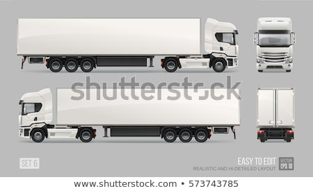 Truck with trailer isolated on white background vector illustrat Stock photo © leonido