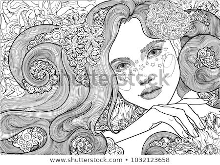 白 魚網 少女 花 ドレス ストックフォト © dolgachov