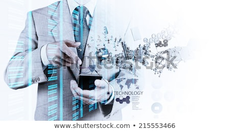 Hombre LCD Screen teléfono móvil blanco sonrisa Foto stock © pzaxe