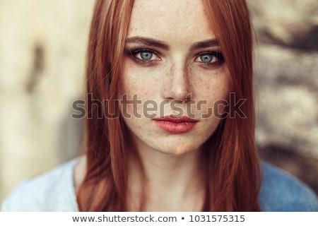Szépség arc csinos vörös haj szeplős lány Stock fotó © gromovataya