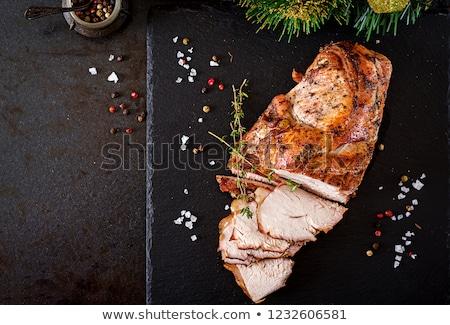 свинина Ломтики разделочная доска чеснока Сток-фото © zhekos