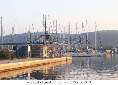 Marina station d'essence gaz eau océan Voyage Photo stock © deyangeorgiev