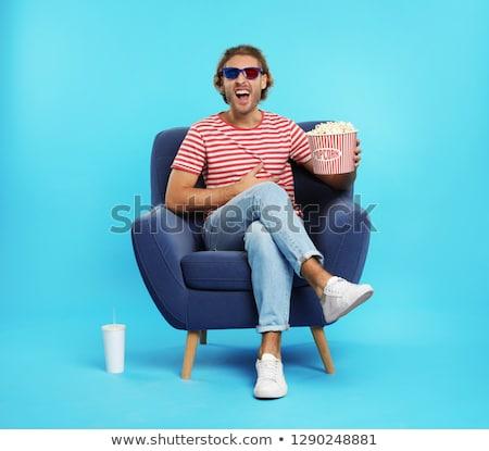 okulary · 3d · wiadro · popcorn · 3D · kina · płytki - zdjęcia stock © danielgilbey