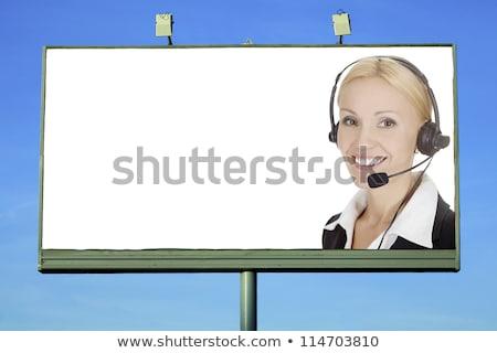 かなり 少女 ヘッド 笑みを浮かべて 通り 看板 ストックフォト © Nobilior