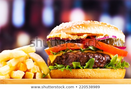 hambúrguer · batata · isolado · branco - foto stock © m-studio