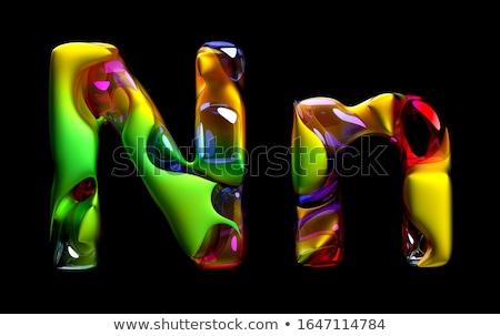 3d визуализации зеленый желтый органический волновая картина художника Сток-фото © Melvin07