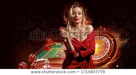 mulher · jovem · cassino · jogos · de · azar · terno · preto · sucesso - foto stock © ssuaphoto