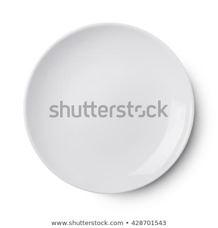 Boş plaka yalıtılmış beyaz masa örtüsü Stok fotoğraf © danny_smythe